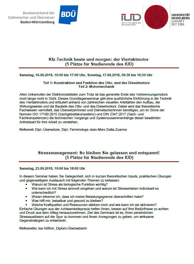 BDÜ-Seminare 2