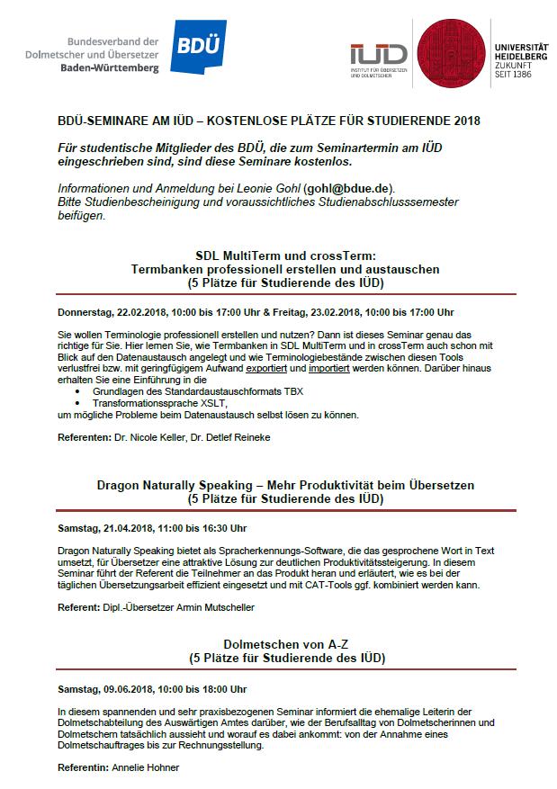 BDÜ-Seminare 1